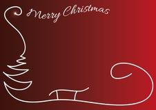Bożenarodzeniowy czerwony tło z sylwetką i błyszczącymi gwiazdami prostą drzewa, Santa sania, Oryginalna kartka bożonarodzeniowa  Zdjęcie Royalty Free
