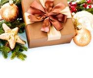 Bożenarodzeniowy dekoraci i prezenta pudełko Fotografia Stock