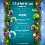Bożenarodzeniowy dekoracja plakat z firtree gałąź fotografia royalty free