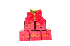 Bożenarodzeniowy dekoracja prezenta pudełko z ribbin Obrazy Royalty Free