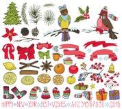 Bożenarodzeniowy dekoracja zestaw Doodles z ptakami ilustracja wektor