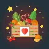Bożenarodzeniowy drewniany pudełko z owoc i deserem w płaskim stylu ilustracji