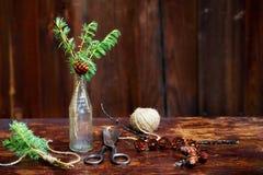 Bożenarodzeniowy drewniany tło Świerczyna rozgałęzia się i konusuje w rocznik butelce starych nożycach i podstępnym sznurze, Poję Obrazy Stock