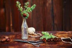 Bożenarodzeniowy drewniany tło Świerczyna rozgałęzia się i konusuje w rocznik butelce starych nożycach i podstępnym sznurze, Poję Obraz Stock