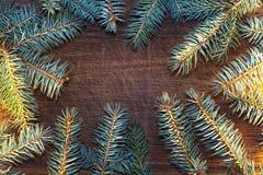 Bożenarodzeniowy drewniany tło z jedlinowym drzewem Obraz Stock