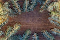 Bożenarodzeniowy drewniany tło z jedlinowym drzewem Zdjęcia Royalty Free