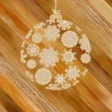 Bożenarodzeniowy drewniany tło z piłką. + EPS8 Obraz Stock