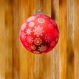 Bożenarodzeniowy drewniany tło z piłką. + EPS8 Obraz Royalty Free