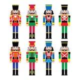 Bożenarodzeniowy dziadek do orzechów - żołnierz figurki ikony ustawiać Zdjęcia Royalty Free