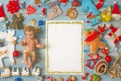 Bożenarodzeniowy dziecko Jezus, pustego miejsca tła ramowe karty fotografia stock