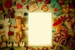 Bożenarodzeniowy dziecko Jezus, pustego miejsca tła ramowe karty obrazy royalty free