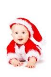Bożenarodzeniowy dziecko w Święty Mikołaj odziewa fotografia royalty free