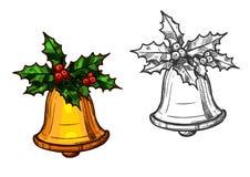 Bożenarodzeniowy dzwon z holly odizolowywającą nakreślenie ikoną ilustracji