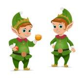 Bożenarodzeniowy elf i Święty Mikołaj pomagier ilustracji