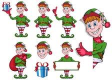 Bożenarodzeniowy elf Set różni elfy dla bożych narodzeń Różni nowy rok charaktery Święty Mikołaj pomagiery charakteru nowy rok ilustracja wektor