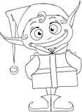 Bożenarodzeniowy elf Trzyma Teraźniejszą kolorystyki stronę Obraz Stock