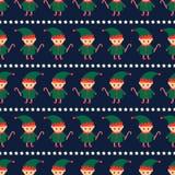 Bożenarodzeniowy elf z cukierek trzciną i xmas gra główna rolę bezszwowego wzór na zmroku - błękitny tło royalty ilustracja
