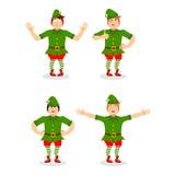 Bożenarodzeniowy elfa set Różnorodny ruchu asystent Święty Mikołaj S ilustracji