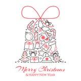 Bożenarodzeniowy horyzontalny sztandar z drzewem, prezenty, dekoracje w formie dzwon Płaska kreskowa sztuka również zwrócić corel ilustracja wektor