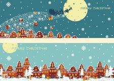 Bożenarodzeniowy horyzontalny sztandaru set Święty Mikołaj przychodzić royalty ilustracja