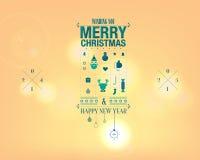 Bożenarodzeniowy i Szczęśliwy nowego roku kartka z pozdrowieniami ilustracji