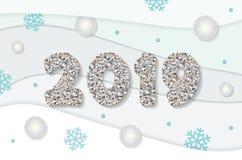 Bożenarodzeniowy i szczęśliwy nowego roku 2019 szablon Srebne błyskotliwość liczby, zima papierowi i cią out tło royalty ilustracja