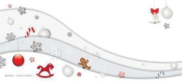Bożenarodzeniowy i szczęśliwy nowy rok zimy tło 3d papieru wycinanki warstwy z dekoracyjnymi elementami ilustracja wektor
