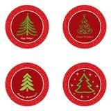 Bożenarodzeniowy ikona set. Zima nowego roku drzewo   kolekcja. Fotografia Stock