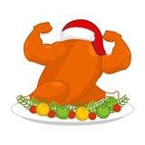 Bożenarodzeniowy indyczy silny w Santa czerwonej nakrętce Sprawności fizycznej jedzenie dla Nowego Y ilustracja wektor