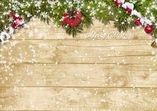 Bożenarodzeniowy jedlinowy drzewo z opadem śniegu na drewnianej desce royalty ilustracja