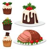 Bożenarodzeniowy jedzenia i deser dekoraci xmas cukierki wakacyjny świętowanie ilustracji