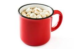 Bożenarodzeniowy kakao z marshmallow w kubku odizolowywającym Obraz Stock