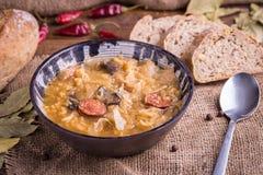 Bożenarodzeniowy kapuściany zupny kapustnica z pieczarkami, chlebem i łyżką na naturalnym tle, fotografia stock