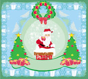 Bożenarodzeniowy kartka z pozdrowieniami - śmieszny Święty Mikołaj Fotografia Stock