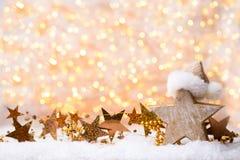 Bożenarodzeniowy kartka z pozdrowieniami z bożego narodzenia złota dekoracjami Zdjęcia Stock