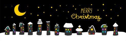 Bożenarodzeniowy kartka z pozdrowieniami z domami przy nocą ilustracji
