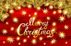 Bożenarodzeniowy kartka z pozdrowieniami i Szczęśliwy nowego roku zaproszenie z Olśniewającymi Złocistymi płatkami śniegu Obraz Royalty Free