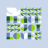 Bożenarodzeniowy kartka z pozdrowieniami z radości miłości pokoju gołąbką i literowaniem Fotografia Royalty Free