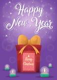 Bożenarodzeniowy kartka z pozdrowieniami tła plakat Wesoło boże narodzenia i Szczęśliwy nowy rok Obrazy Stock