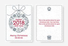 Bożenarodzeniowy kartka z pozdrowieniami ustawiający z balowym składać się z znakiem 2018 Szczęśliwym ilustracja wektor
