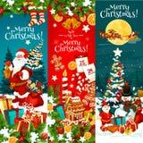 Bożenarodzeniowy kartka z pozdrowieniami z Xmas drzewem, Santa prezent ilustracja wektor