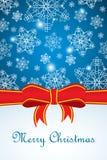 Bożenarodzeniowy kartka z pozdrowieniami z płatkiem śniegu i faborkiem Obraz Stock