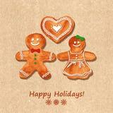 Bożenarodzeniowy kartka z pozdrowieniami z piernikowymi ciastkami Obrazy Stock