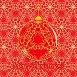 Bożenarodzeniowy kartka z pozdrowieniami z przejrzystą piłką na ozdobnym czerwieni i złota tle Zdjęcie Royalty Free