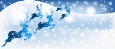 Bożenarodzeniowy kartka z pozdrowieniami z reniferami w śnieżnej scenie Fotografia Royalty Free