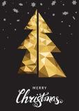 Bożenarodzeniowy kartka z pozdrowieniami z trójbok złocistą jodłą na czerń plecy Zdjęcie Royalty Free