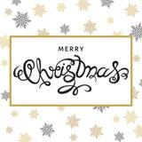 Bożenarodzeniowy kartka z pozdrowieniami z złotymi płatkami śniegu Zdjęcie Stock