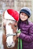 Bożenarodzeniowy koń i zimy dziewczyna obrazy stock