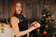 Bożenarodzeniowy kobieta portret z aniołem Zdjęcie Royalty Free