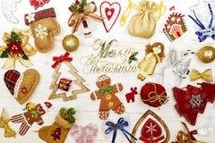 Bożenarodzeniowy kolaż świąteczni atrybuty obrazy stock